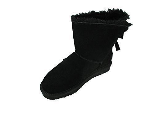 OOG Damen Leder Boots Stiefel Teddy Fell Blogger Schlupfstiefel neue Farben (41, Schwarz)