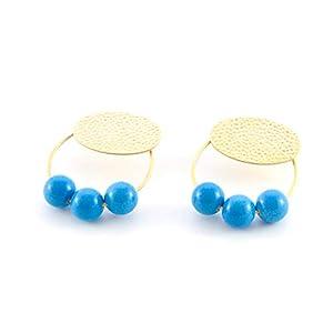 Damen ohrringe creolen.Ohrringe für Frauen mit Ring- und Harzbällen. Oval in gehämmertem Finish und mattem Gold.Farbe blau