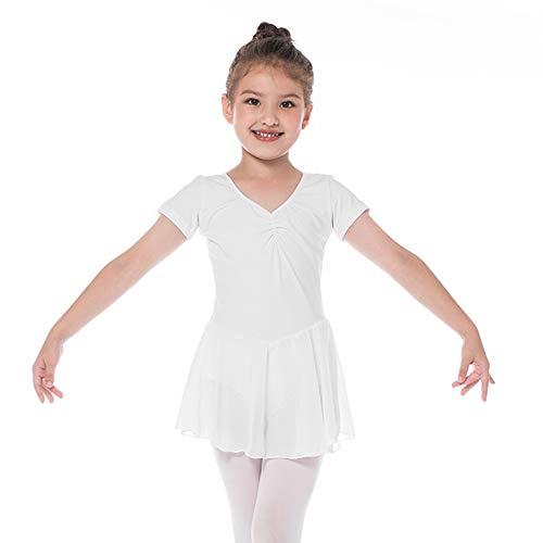 Kinder Kurzarm Ballettkleid aus Baumwolle mit Chiffon Kleider Ballett Trikot Turnanzug für Mädchen Weiß 120