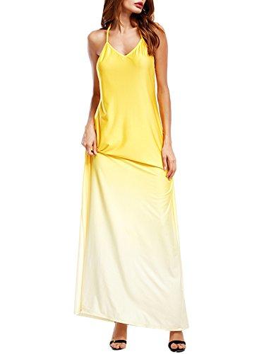 ACHICGIRL Women's V Neck Sleeveless Backless Gradient Maxi Dress Yellow