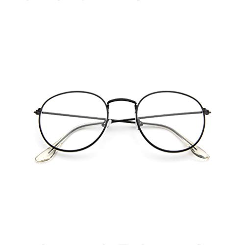 VRTUR Metall Frame Runde Brille Retro Metall Klare Linse Brille, Unisex,Schwarz, Golden, Silbern Farbe, 3 Paar (One size,Schwarz)