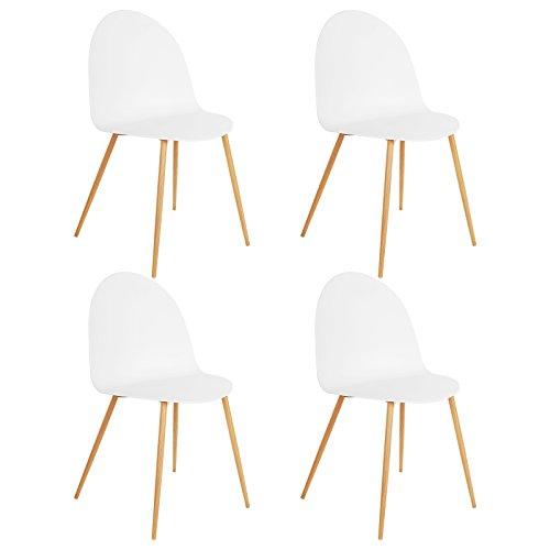 SONGMICS Esszimmerstuhl 4er-Set, moderner Küchenstuhl Stühle, breiteRückenlehne aus Kunststoff, EisenbeineinHolzoptik, weiß, - Moderner Kunststoff-stuhl