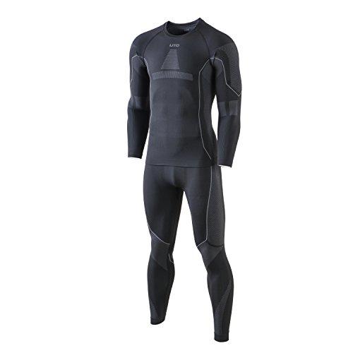 Selighting Herren Funktionsunterwäsche Thermo Skiunterwäsche Warme Unterwäsche Set für Ski Radsport Fitness Laufen (XL, Grau)