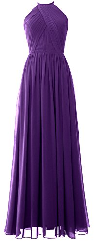 MACLoth Women Halter Long Wedding Party Bridesmaid Dress Formal Evening Gown purple