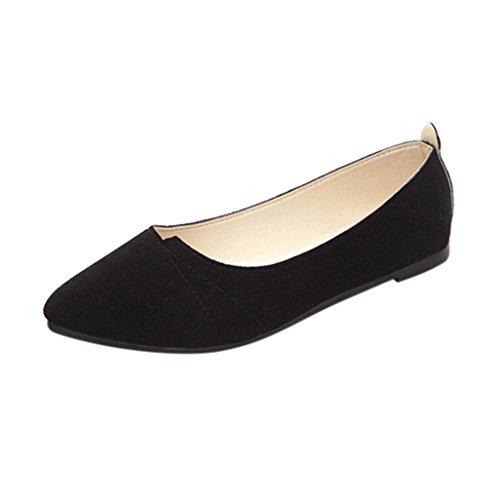 OverDose Ballerines Chaussures Plats Suédine, Femme Mocassins Pointure Casual Soft Slip-On Shoes (40, Noir)