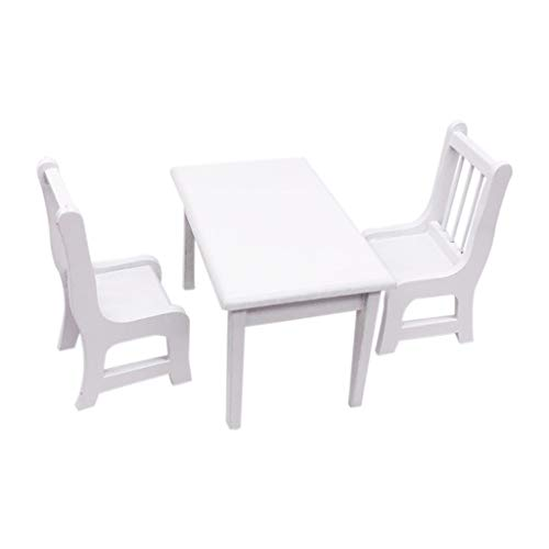 ToDIDAF Puppenhaus Zubehör Esszimmer-Set 1 Esstisch + 2 Stuhl, 1:12 Hölzerne weiße Puppenhaus Miniaturmöbel