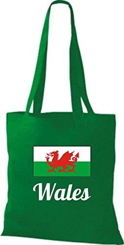 ShirtInStyle Stoffbeutel Baumwolltasche Länderjute Wales Farbe Pink kelly
