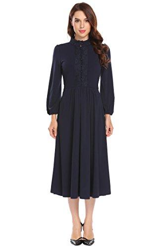 Chigant Damen Langarm Midi Kleid Langes Einfarbiges Kleid mit Spitze Elegant Abendkleid mit Knöpfe (Langen Ärmeln Midi-kleid)