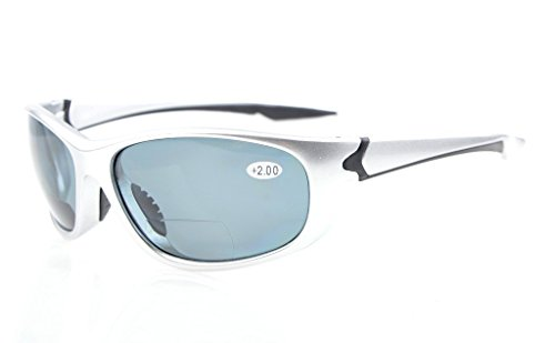 Eyekepper Polycarbonat Polarisierte Bifocal Sport Sonnenbrille Für Männer Frauen Baseball Laufen Angeln Fahren Golf Softball Wandern TR90 Unzerbrechlich Silber Rahmen Grau Objektiv +3.0