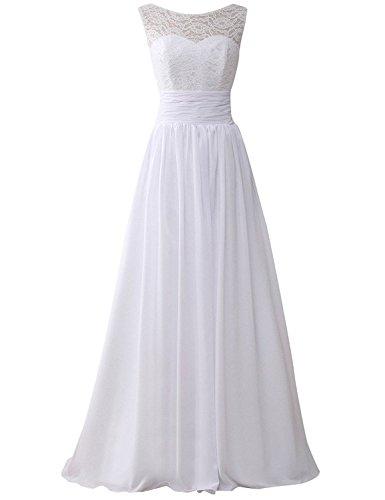 07e2cac8d37 JAEDEN Damen Chiffon Hochzeitskleider A Linie Brautkleid Lang Spitzekleid  Weiß EUR44
