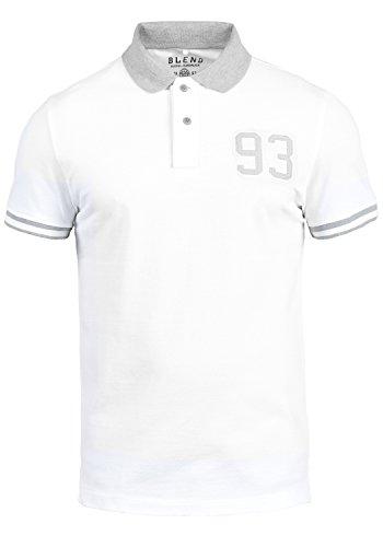 Blend Gregor Herren Poloshirt Polohemd T-Shirt Shirt Mit Polokragen Aus 100% Baumwolle, Größe:XXL, Farbe:White (70002) - Hawaii-blumen-muster-shirt
