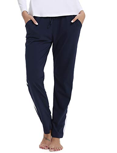 Hawiton Damen Sport Jogging Hose Lang Baumwolle Schlafanzughose Pyjamahose Nachtwäsche Blau L