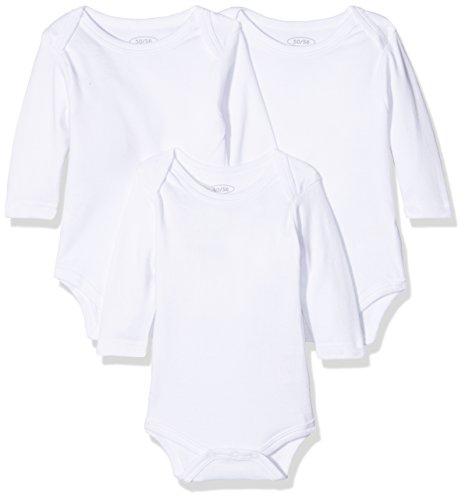 Schnizler Unisex Baby Body Langarm, 3er Pack, Oeko - Tex Standard 100, Gr. 62 (Herstellergröße: 62/68), Weiß (weiß 1)