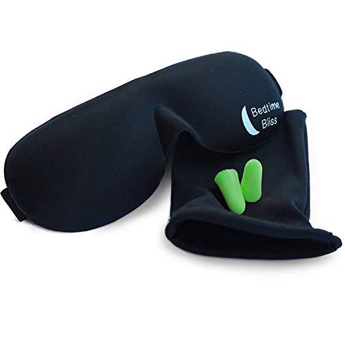 Schlafmaske Geformte & Bequeme Augenmaske & Ohrstöpsel Set. Inklusive Tragebeutel für und Ohrstöpsel – Super zum Verreisen, Schichtarbeit & Meditation