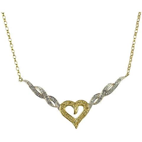 Bijoux pour tous - Collana da donna con diamante (0,4 ct), oro giallo 9k (375), 43,18 cm, cod. 9-BN007P