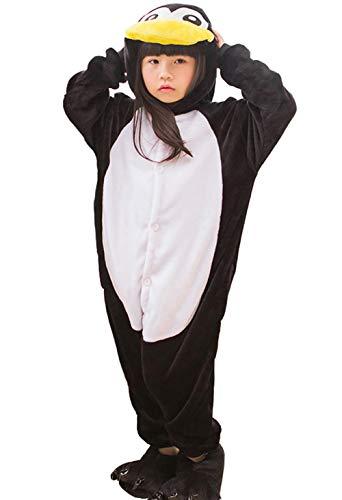 Pyjamas Kigurumi Jumpsuit Onesie Mädchen Junge Kinder Tier Karton Halloween Kostüm Sleepsuit Overall Unisex Schlafanzug Winter, Pinguin Schwarz