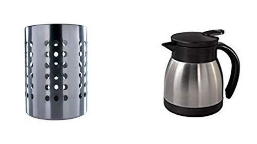IKEA Ordning – Besteck Ständer, Edelstahl + Xavax Isolierkanne, Edelstahl, Heiß-/Kalt-Getränke, 400 ml, Höhe 12,5 cm, Piccolo