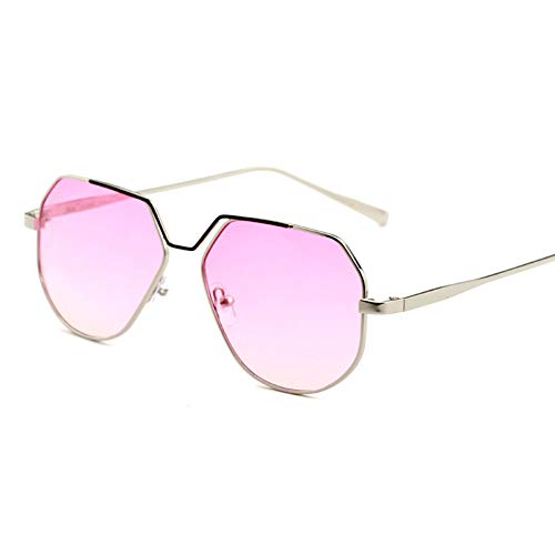 GBST Women Metal Square Eyewear Female Shades Big Mirror Punk Sun Glasses with Box,pink