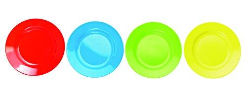 4 multicolores Grosse rond, plat, Assiette en mélamine incassable – Plastique, env. 25 x 25 cm en jaune, bleu, vert, rouge