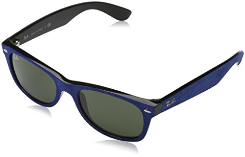 Ray-Ban Herren Sonnenbrille New Wayfarer, Blau (Gestell: Blau (Alcantara)/Schwarz, Gläser: Grün 6239), Medium (Herstellergröße: 52)