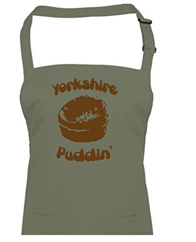 FatCuckoo Yorkshire Puddin '-Regional Dish, Chef de cuisine Tablier unisexe, vert olive, Taille Unique