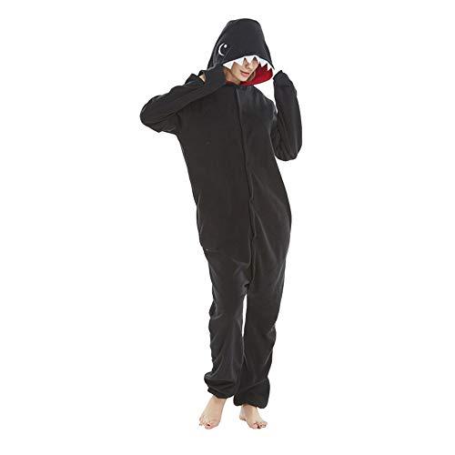 DASENLIN Pyjama Kostüm Cosplay Jumpsuit Overall Black Shark Trickfilm Kaschmir Lange Ärmel Im Herbst Und Winter, XL