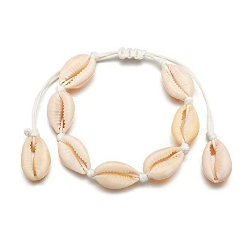 Bigsweety Frauen Böhmischen Stil Shell Armband, Einfache Kurze Handgemachte Süße Armband Schmuck, Weiß (Schmuck Sweet Silber 16)