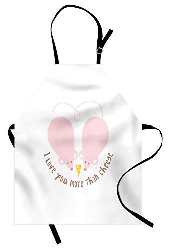 ABAKUHAUS Ich Liebe Dich mehr Kochschürze, Rosa Ratten mit Tangled Tails bilden EIN Herz Süße Valentines, Farbfest Höhenverstellbar Waschbar Klarer Digitaldruck, Hellrosa Gelb Kakao