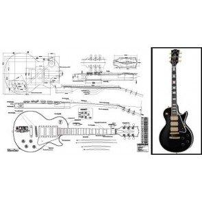 Plan de Gibson Les Paul 'belleza negro guitarra eléctrica–escala completa impresión