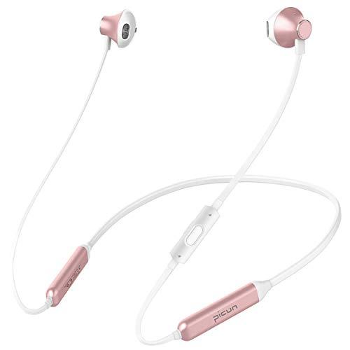 Bluetooth Kopfhörer, Picun 10 Stunden Spielzeit In Ear Sport Ohrhörer mit HD Mikrofon, IPX6 Wasserdicht/HiFi Stereo Bass/Fitness/Laufen, Kabellos Headset für Samsung Huawei Sony IOS Android(Rose Gold)