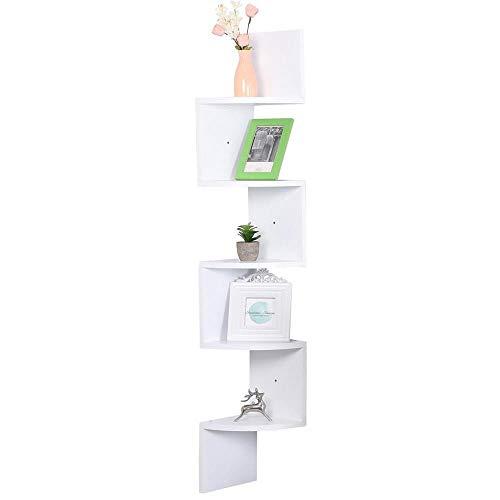 Etnicart - Mensola angolare in Legno MDF Bianco da Parete 20x20xH123cm per Libri Oggetti scaffale a Parete - Prodotto di QUALITA'