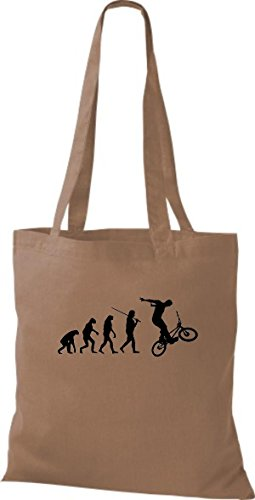 ShirtInStyle Stoffbeutel Jute Evolution Motorrad Fahrrad Biken Stunt Freebike Biker diverse Farbe chestnut