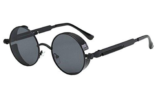 Inception Pro Infinite (Schwarzer Rahmen - Graues Glas) Sonnenbrille - Steampunk - Rund - Herren - Damen - Unisex - Retro - Cyber
