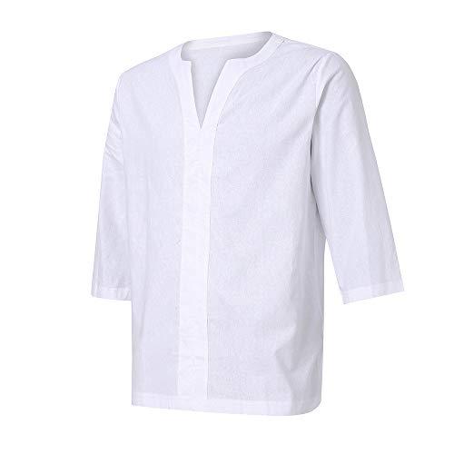 Xmiral Herren T-Shirt 3/4 Ärmel V-Ausschnitt Retro Einfarbig Ausgebeult Sommer Langarm Kurzarm Casual Top Multi Pack Rundhals T-Shirts(Weiß,3XL)