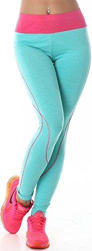 Power Flower donna lunga Leggings Fitness tempo libero bicolore vita alta (32-40) Turchese Rosa W34