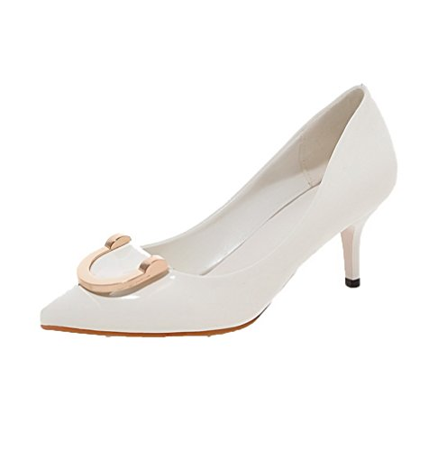 AgooLar Femme Pu Cuir Mosaïque Tire Pointu à Talon Correct Chaussures Légeres Blanc
