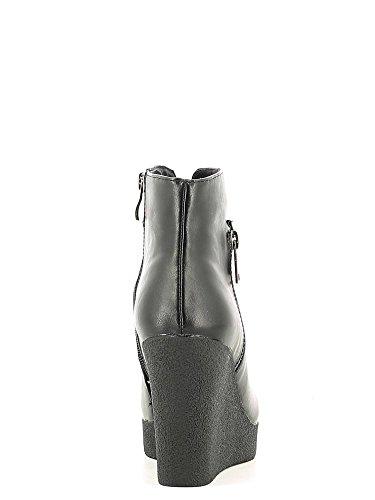 Tronchetti CafèNoir per donna in ecopelle nera con zeppa alta Nero