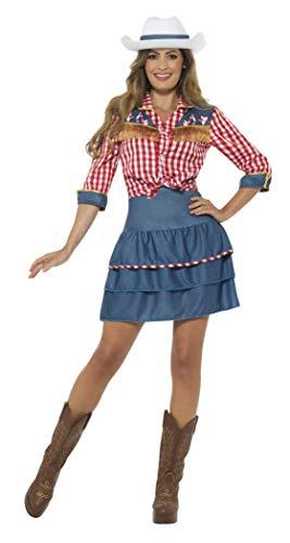 Smiffys Costume rodéo pour fille, bleu, avec jupe, chemise et chapeau