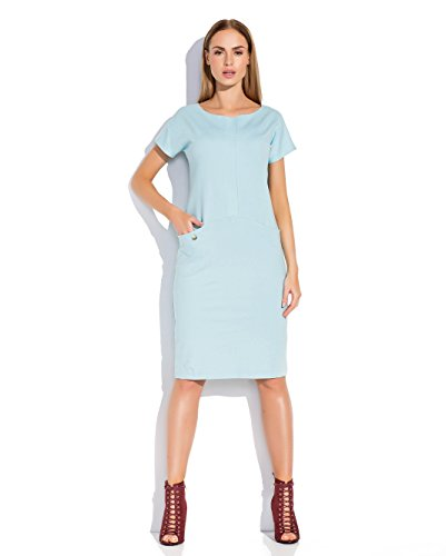 Makadamia - Robe - Crayon - Manches Courtes - Femme Gris Ashen Bleu - Bleu