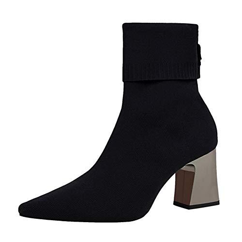 Frauen Elastische Socken Stiefel Herbst Slip-On Stricken Stretch Stiefel Baumwollgewebe Dame Mitte Der Wade Boot Socke High Heels Schuhe (Dollar Für Stiefel 20)