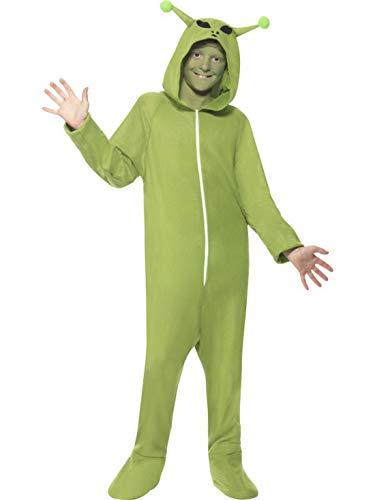 Luxuspiraten - Jungen Kinder Kostüm Plüsch Onesie Overall Einteiler UFO Alien Außerdirdischer, perfekt für Halloween Karneval und Fasching, 140-152, Grün (Plüsch Overall Kostüm)