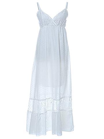 Anna-Kaci Frauen Einstellbare Träger Boho Spitze Weiß V-Ausschnitt Ärmellos lange Maxi Kleid