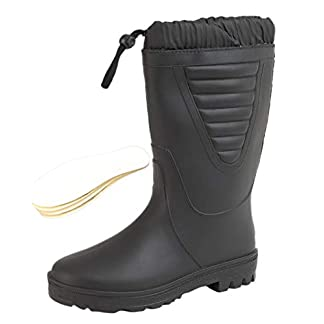 Stormwells ® Mens Boys Wellies Tie Top Faux Fur Warm Lined Wellington Boots Size UK 3-12 Plus Extra Comfort Insoles x 2 7