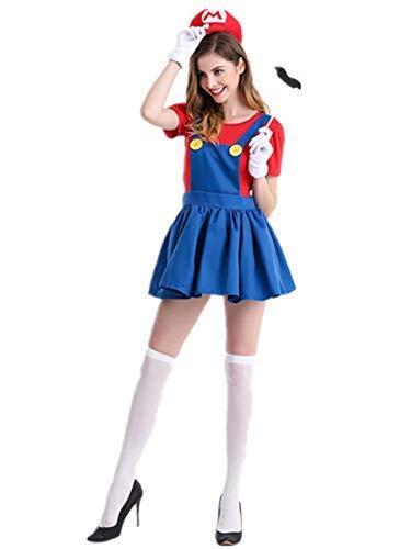 Kostüm Super Bros Mädchen Mario - Fanessy. Super Luigi Bros Halloween Kostüme Jungen Mädchen Damen Herren Super Mario Kostüm mit Mütze Bart Handschuhe Erwachsene Kinder Verkleidung Cosplay Outfit für Fasching Halloween Karneval Party