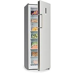 Klarstein Iceblokk Hybrid - Congélateur 4 étoiles, Peut aussi être utilisé comme réfrigérateur, 227 litres, Technologie NoFrost totale, 7 compartiments, Écran tactile, Argent