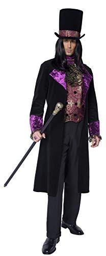 Smiffys, Herren Gothic Graf Kostüm, Jacke, Hut und Mock Weste mit angesetzter Krawatte, Größe: L, - Gothic Graf Kostüm