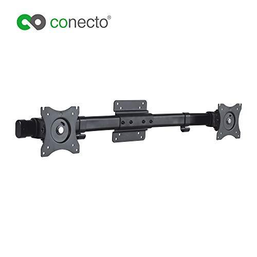 conecto CC50514 Dual Screen Adpater für 2 Monitore 33-69 cm (13-27 Zoll), neigbar: -45° bis 45°, schwenkbar: -15° bis 15°, drehbar: -180° bis 180°, max. 10kg, VESA 100x100, schwarz Dual Screen
