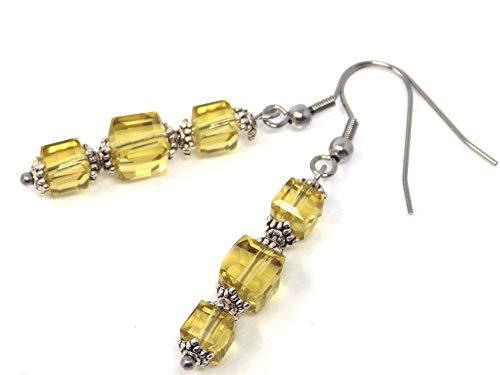Pendientes de cristal amarillo y acero inoxidable