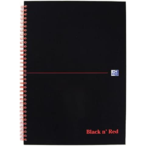 Oxford Black n' Red - Cuaderno de espiral doble (con rayas, 140 páginas, A4, tapa dura, 90 g/m²), color rojo y