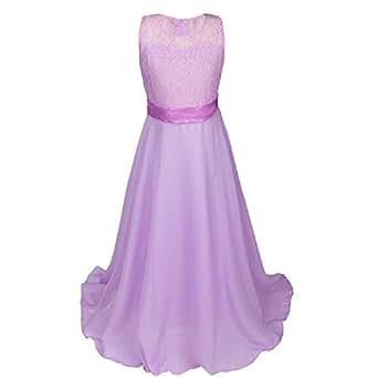 Discoball Girls Lace Dress Chiffon Gown Dress Floor Length Dress Wedding Bridesmaid Flower Girl Long Dress (Lavender, 8-9years)